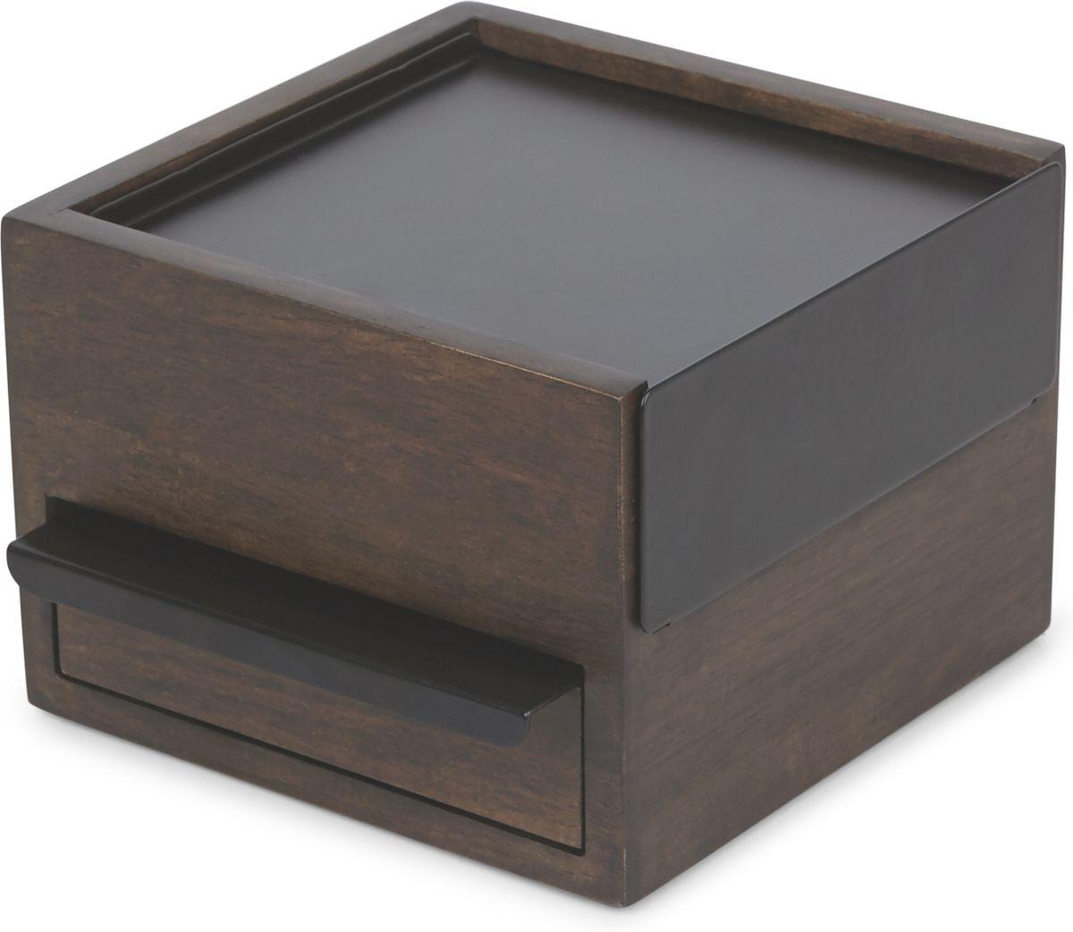 "Шкатулка для украшений Umbra ""Stowit Mini"", цвет: черный, орех, 10,9 х 16,7 х 15,2 см"