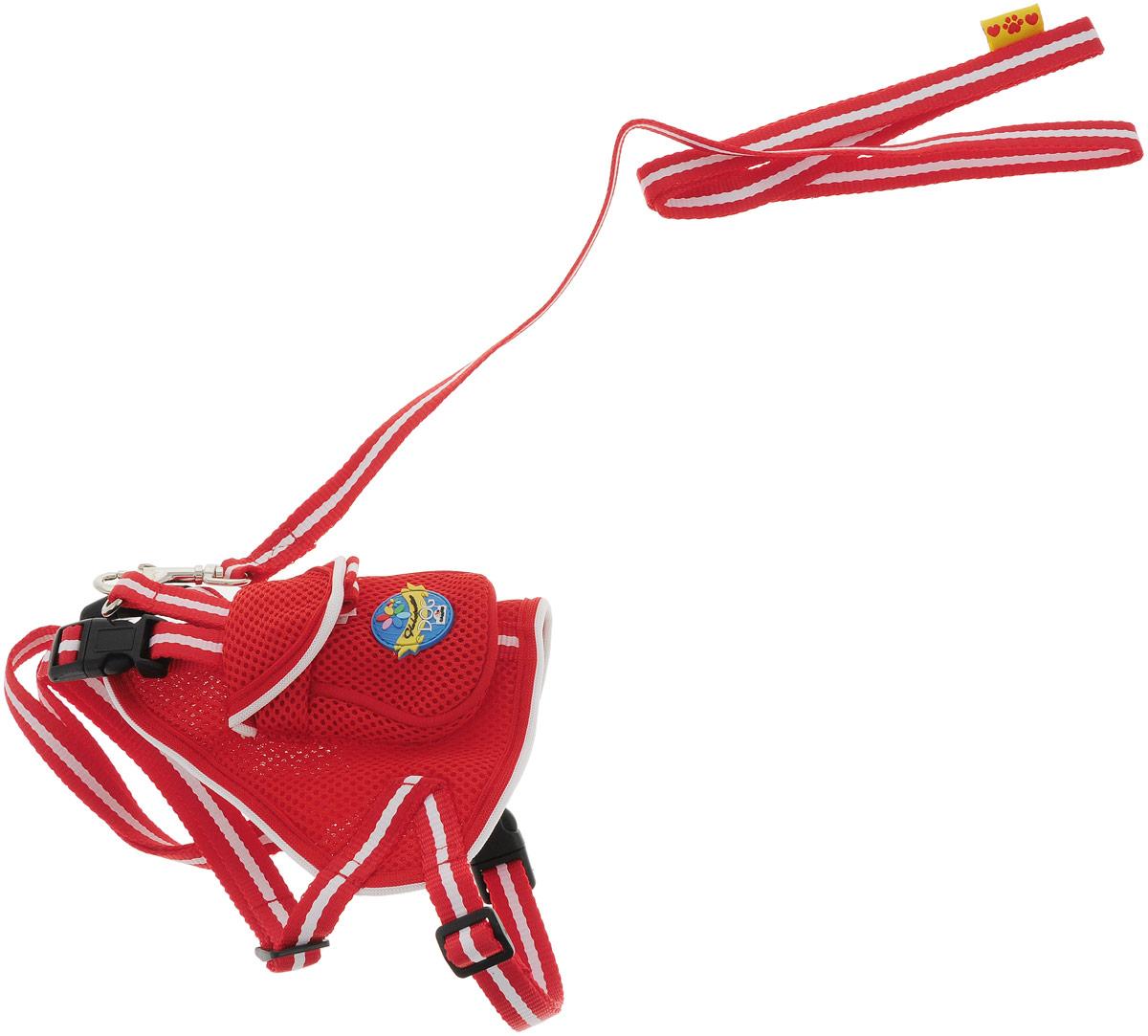 Шлейка для собак Camon, с поводком, цвет: красный, 50 см. Размер M шлейка для собак camon с поводком нейлоновая цвет фиолетовый 1 х 120 см dc064 a