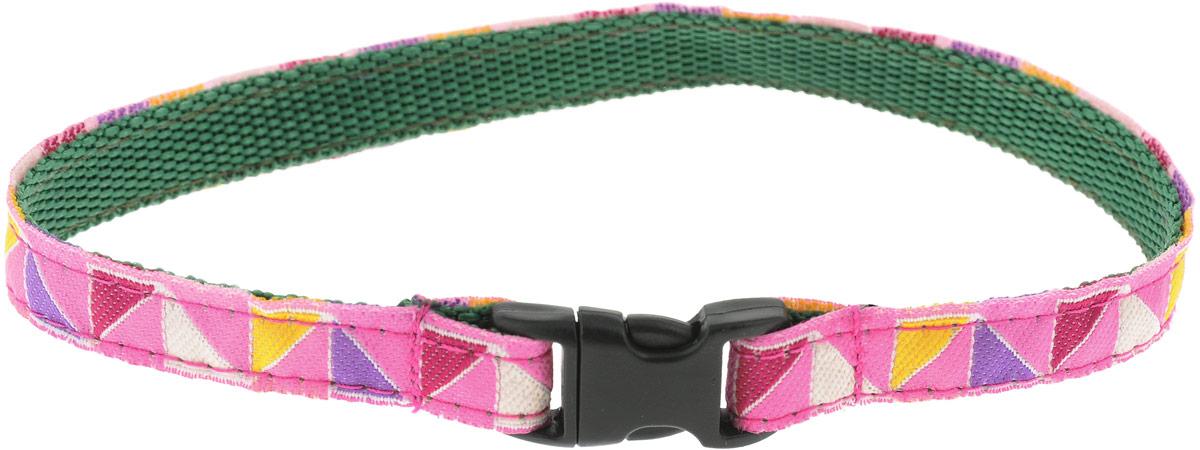 """Ошейник для животных GLG """"Треугольники"""", цвет: розовый, размер 1 х 28 см"""