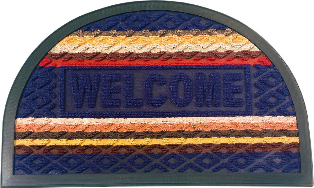 Коврик придверный Vortex Comfort Welcome, цвет: синий, 40 х 60 см коврик придверный vortex spark цвет синий 40 х 60 см 22353