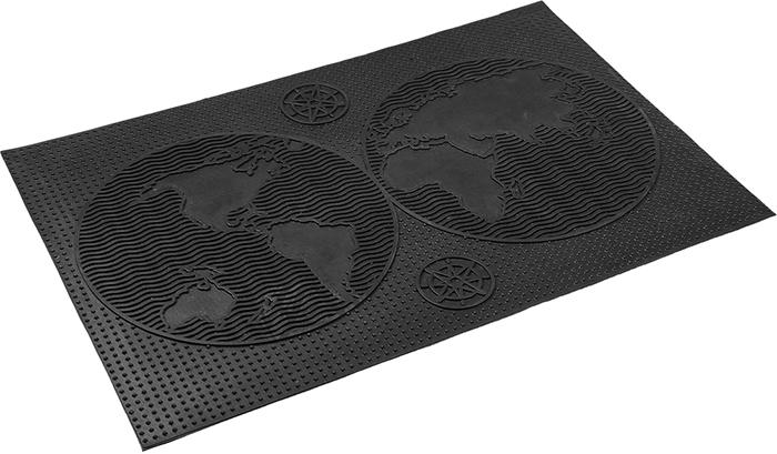 Коврик придверный Vortex Континенты, грязесборный, цвет: черный, 40 х 60 см коврик придверный vortex клен грязесборный цвет черный 40 х 60 см