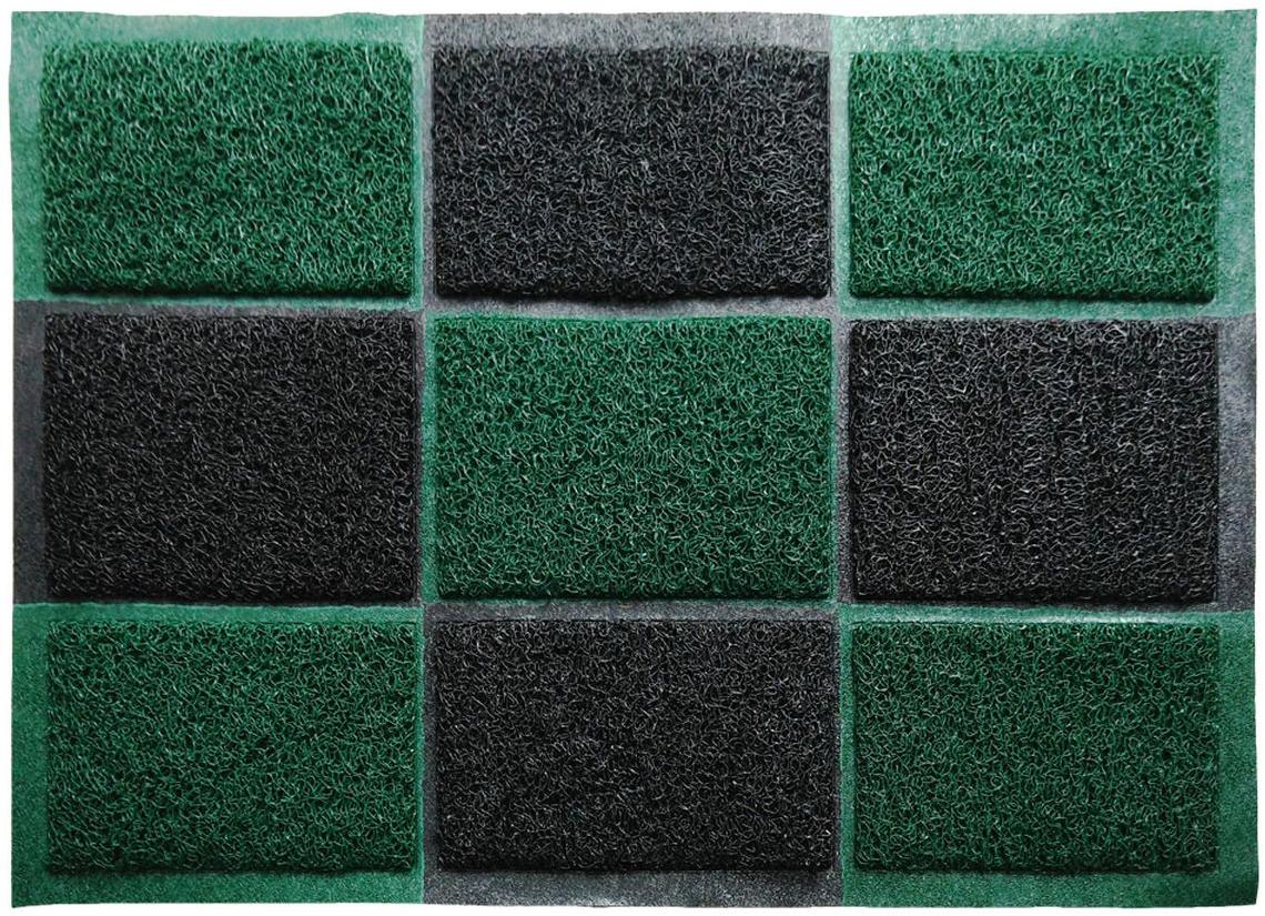Коврик придверный Vortex, пористый, цвет: черный, зеленый, 40 х 60 см коврик придверный vortex samba футбол влаговпитывающий цвет зеленый 60 x 40 см