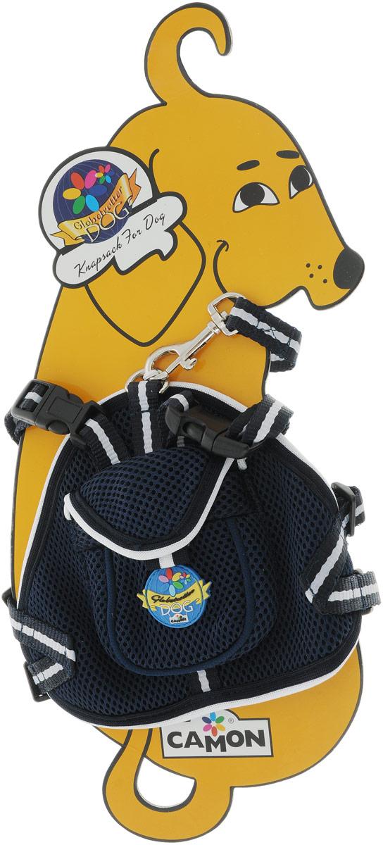 Шлейка для собак Camon, с поводком, цвет: темно-синий, 50 см. Размер M шлейка для собак camon с поводком нейлоновая цвет фиолетовый 1 х 120 см dc064 a
