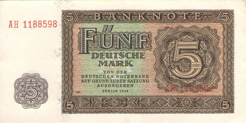 Банкнота номиналом 5 марок. ГДР, 1948 год банкнота номиналом 5 новых крузадо бразилия 1989 год