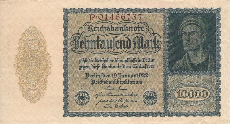 Банкнота номиналом 10 000 марок. Германия, 1922 год