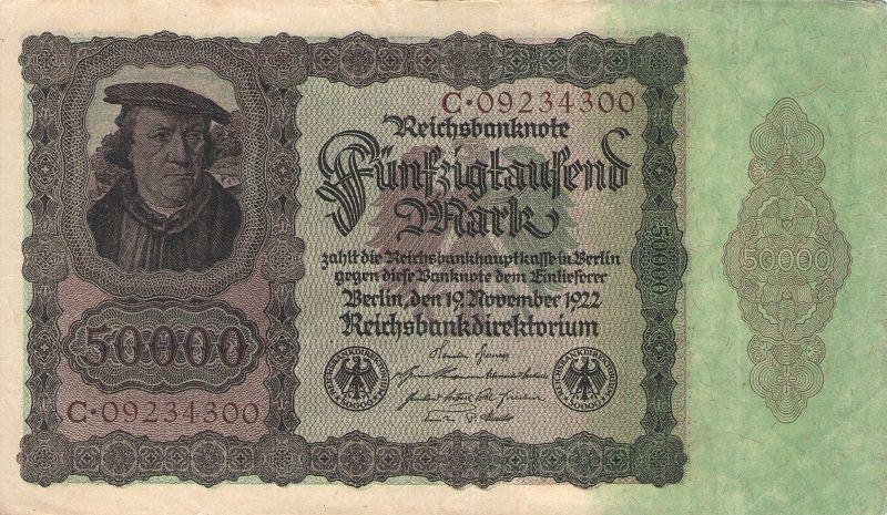 Банкнота номиналом 50 000 марок. Германия, 1922 год банкнота номиналом 2 кордоба никарагуа 1972 год