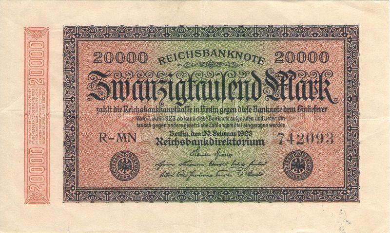 Банкнота номиналом 20 000 марок. Германия, 1923 год