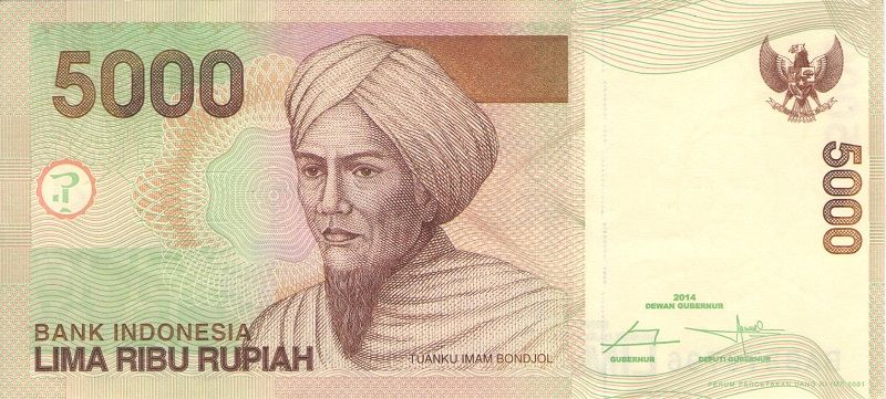 Банкнота номиналом 5000 рупий. Индонезия, 2014 год банкнота номиналом 100 рупий литера e индия 2015 год