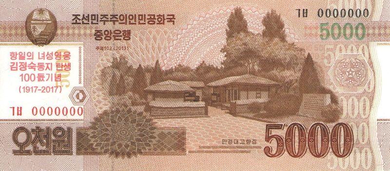 Банкнота номиналом 5000 вон. КНДР. 2017 год юбилейная старинная банкнота