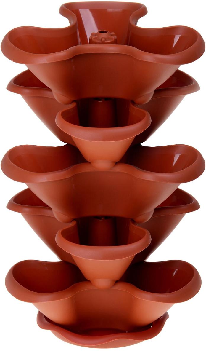 Этажерка цветочная Idea Гамма, цвет: терракотовый, 5 кашпо катер сувенирный на подставке 1531147 синий коричневый 14 5 х 35 х 12 см