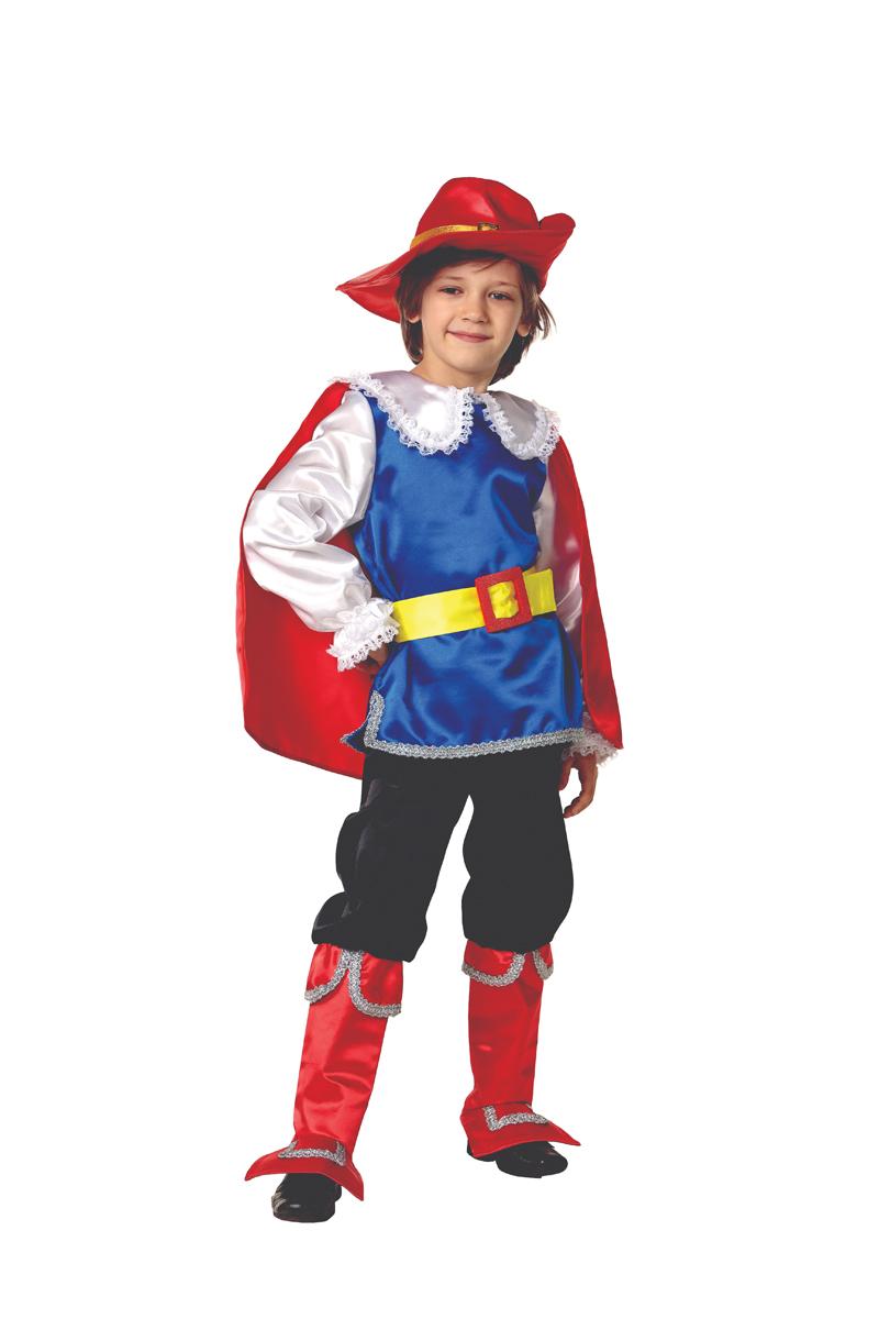 Батик Костюм карнавальный для мальчика Кот в сапогах цвет синий черный красный белый размер 34 батик костюм карнавальный для мальчика король цвет красный белый размер 30