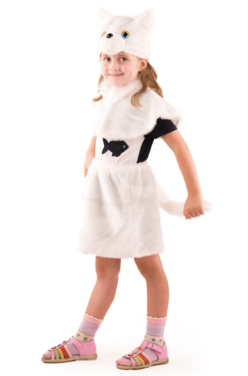 Батик Костюм карнавальный для девочки Кошка цвет белый размер 28