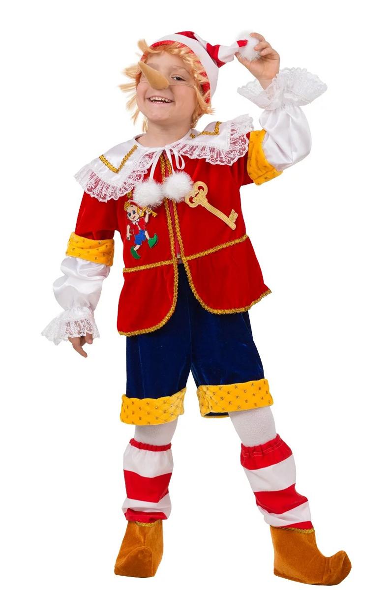 Батик Костюм карнавальный для мальчика Буратино цвет красный синий белый желтый размер 32