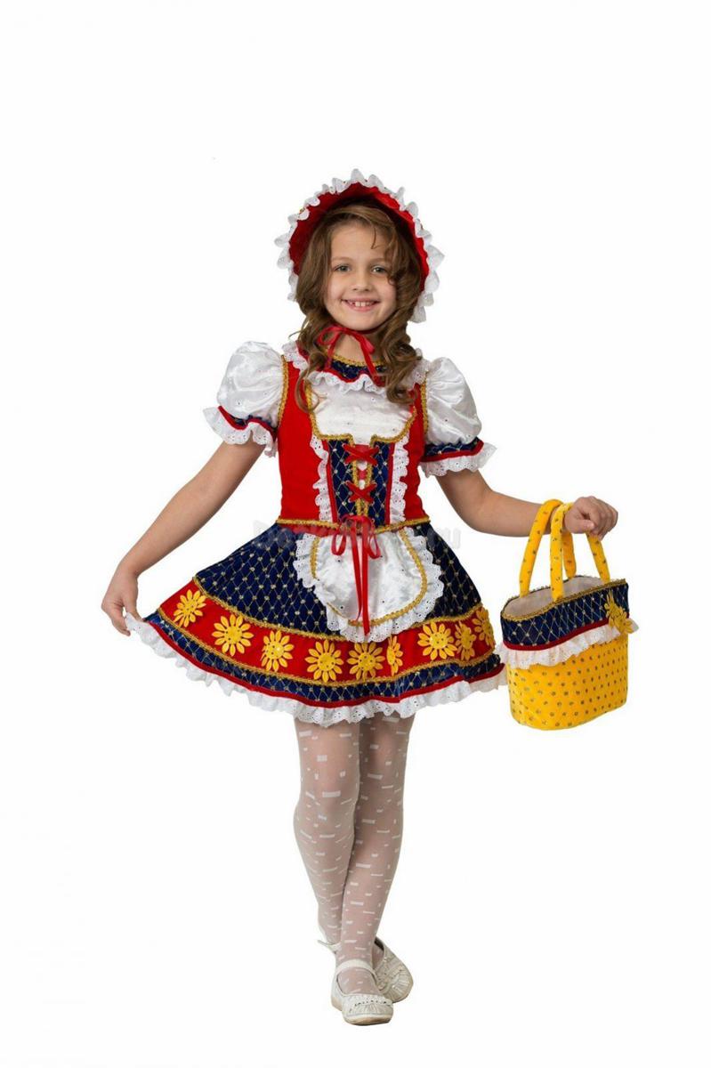 Батик Костюм карнавальный для девочки Красная Шапочка цвет красный синий белый размер 32 костюм русской красной шапочки 48