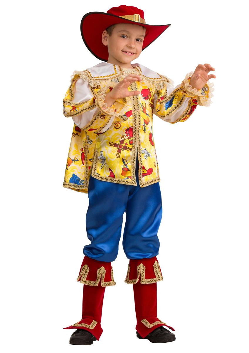 Батик Костюм карнавальный для мальчика Кот в сапогах сказочный размер 34 батик костюм карнавальный для мальчика мушкетер сказочный размер 28