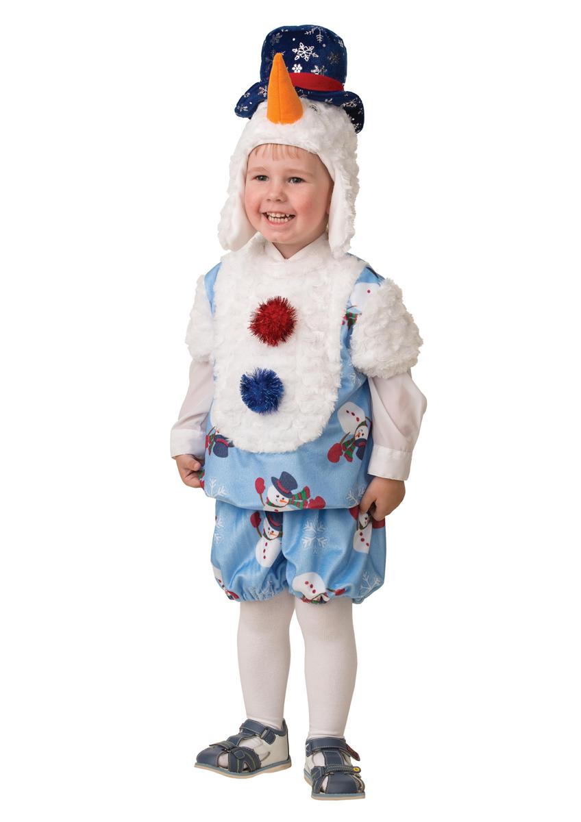 Батик Костюм карнавальный для мальчика Снеговичок Снежник размер 28