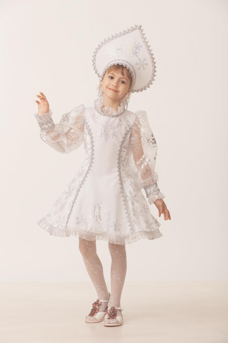 Батик Костюм карнавальный для девочки Снегурочка цвет белый размер 36 карнавальный костюм jeanees зайка капризка цвет голубой размер 24