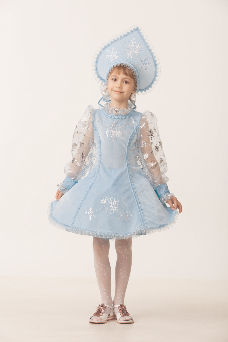 Батик Костюм карнавальный для девочки Снегурочка цвет голубой размер 34 батик костюм карнавальный для девочки блум размер 34