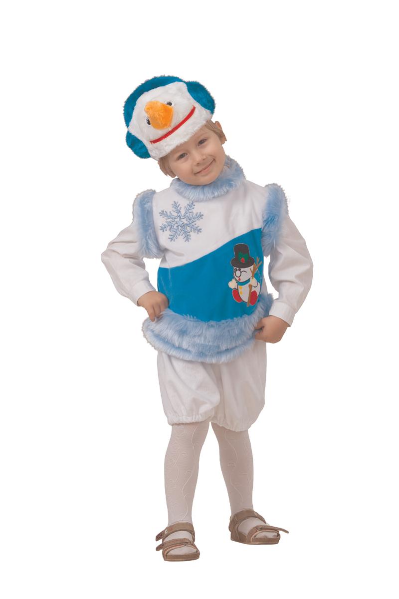 Батик Костюм карнавальный для мальчика Снеговик снежный размер 28