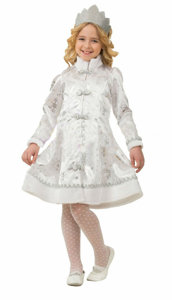 Батик Костюм карнавальный для девочки Снегурочка цвет белый серебристый размер 30