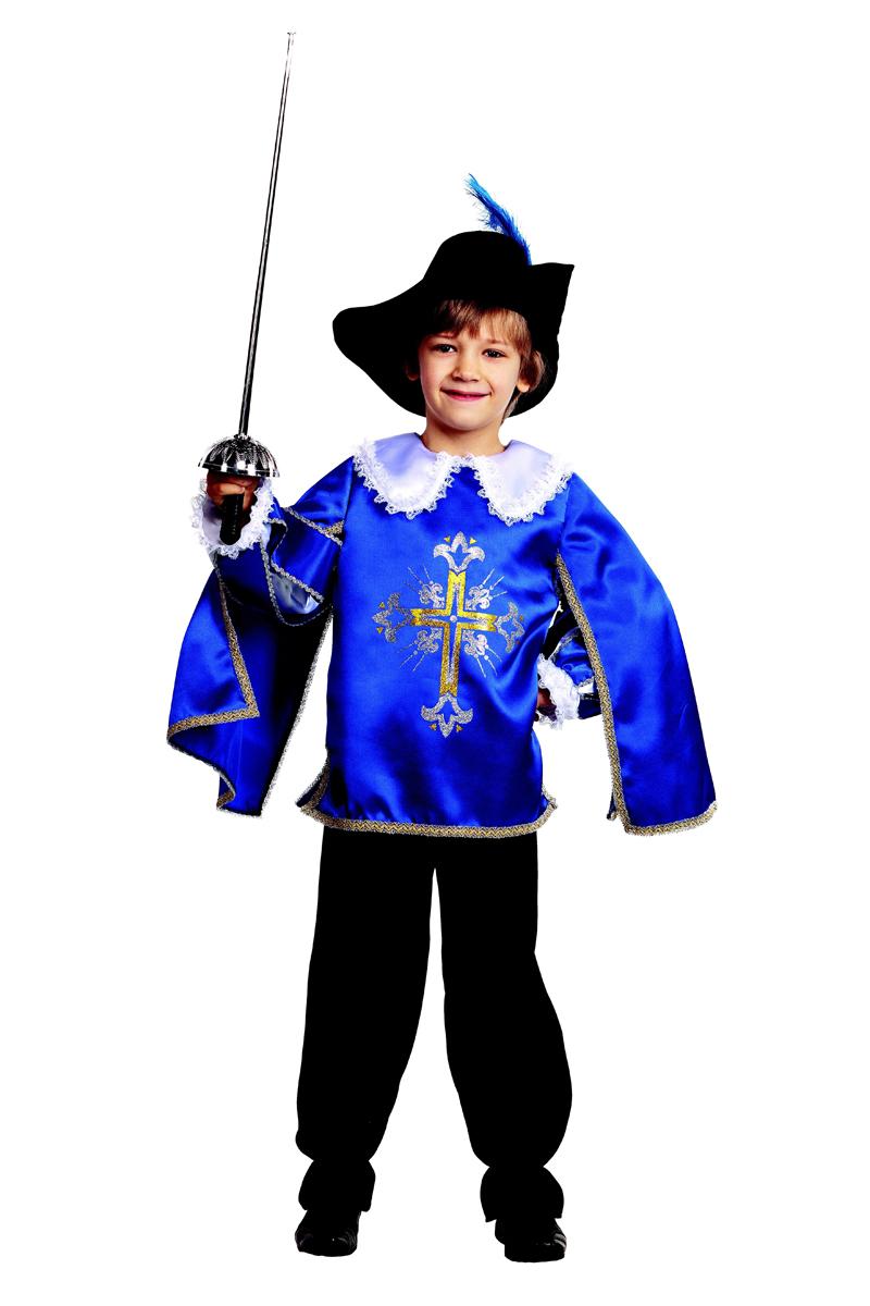Батик Костюм карнавальный для мальчика Мушкетер цвет синий черный белый размер 26