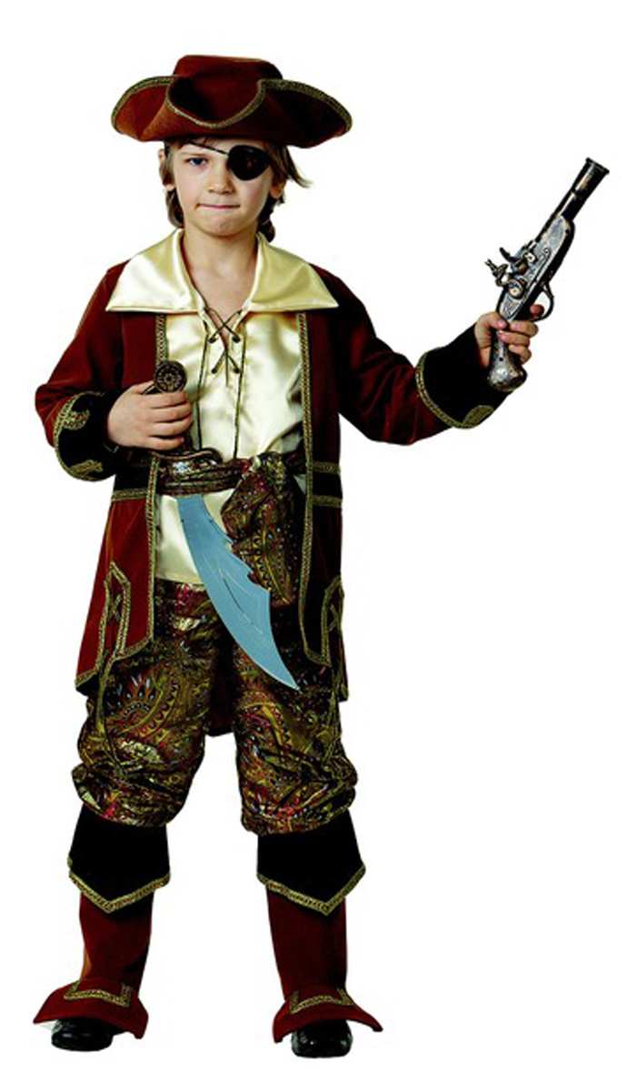 Батик Костюм карнавальный для мальчика Капитан пиратов цвет коричневый размер 34