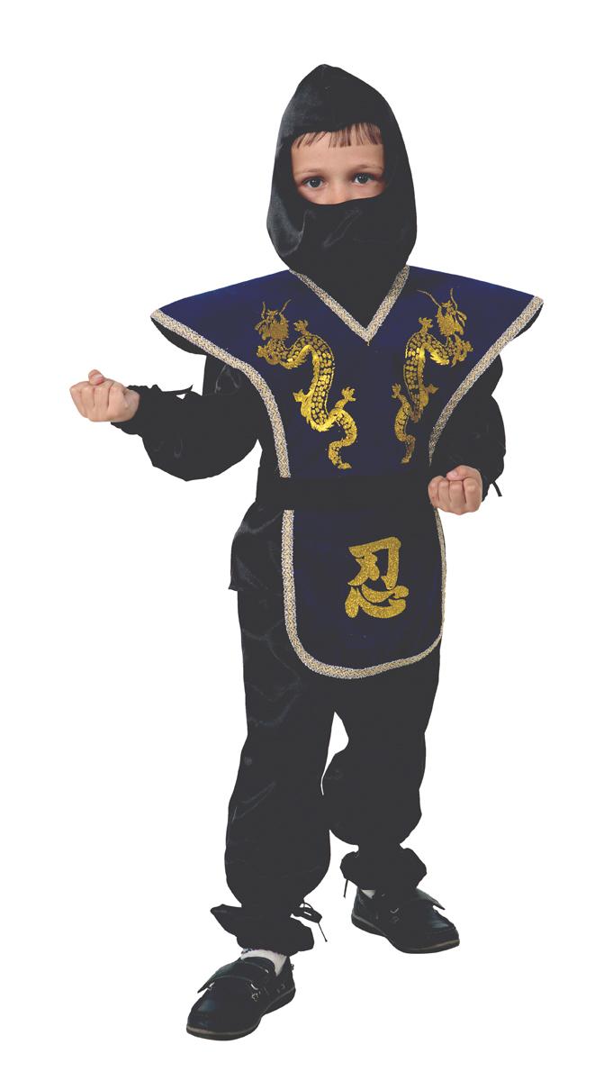 Батик Костюм карнавальный для мальчика Ниндзя цвет синий размер 36 карнавальный костюм jeanees зайка капризка цвет голубой размер 24