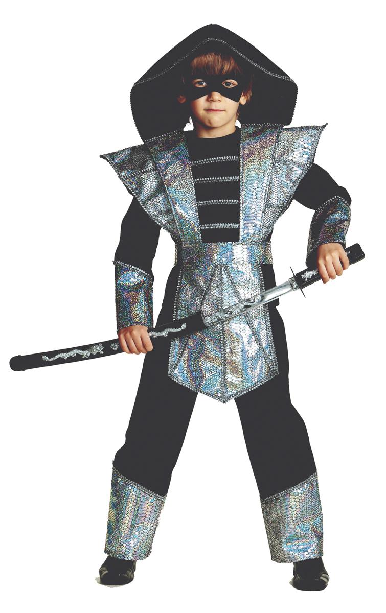 Батик Костюм карнавальный для мальчика Ниндзя цвет серебристый размер 30