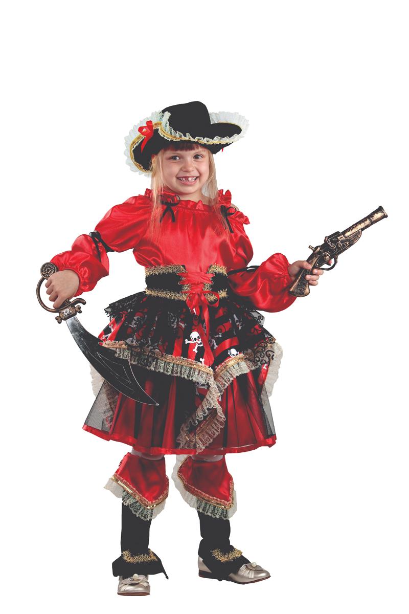 Батик Костюм карнавальный для девочки Пиратка цвет красный размер 36 батик костюм карнавальный для девочки зайка зоська размер 30 32