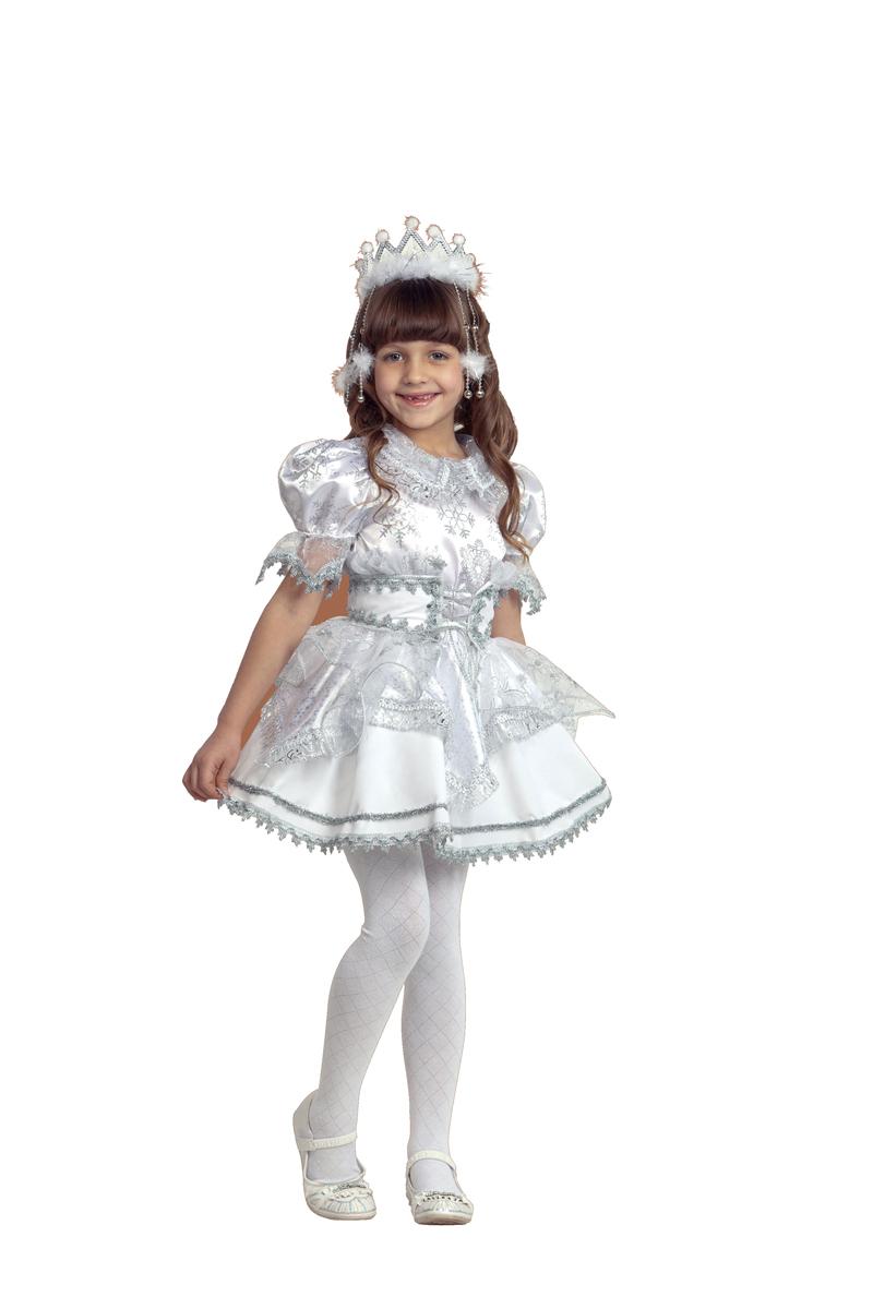 Батик Костюм карнавальный для девочки Снежинка цвет белый серебристый размер 26