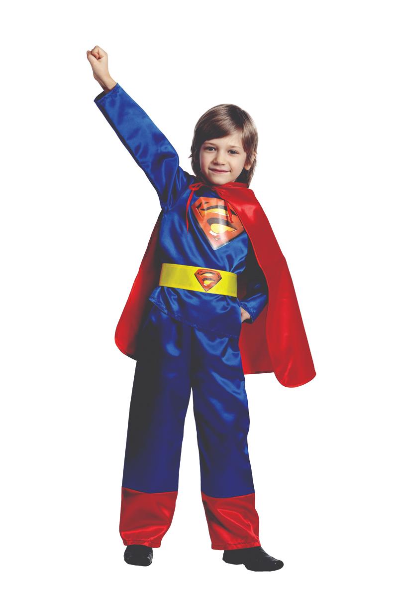 Батик Костюм карнавальный для мальчика Супермен цвет синий красный размер 28 батик костюм карнавальный для мальчика черный плащ размер 28