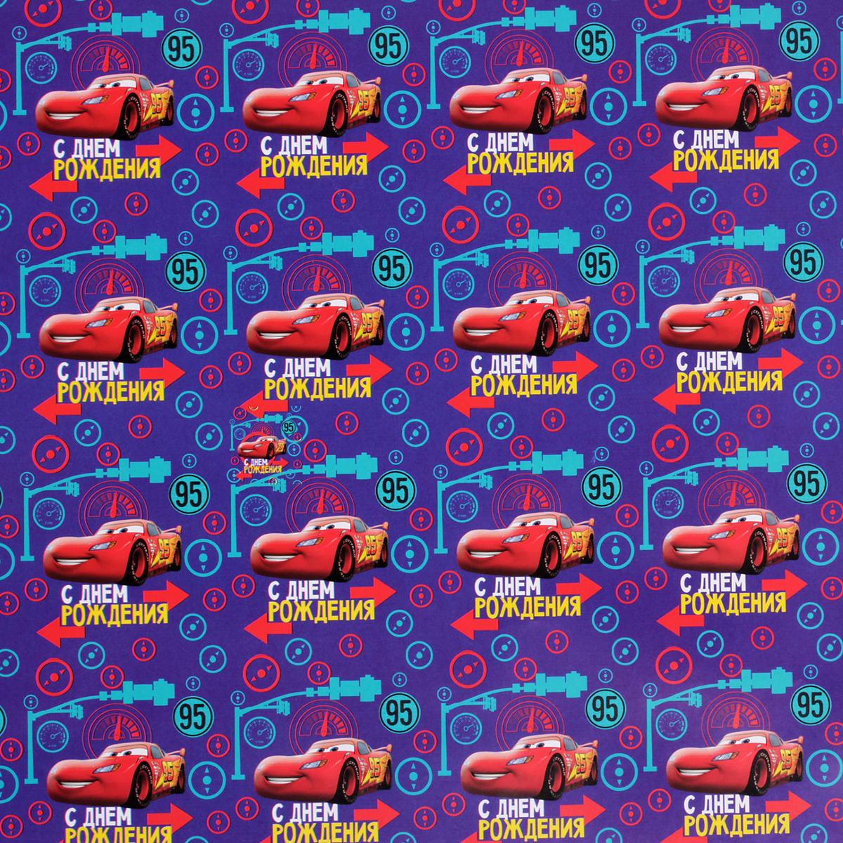 Бумага упаковочная Disney С Днем Рождения. Тачки, глянцевая, 70 х 100 см. 2390652 бумага упаковочная disney с днем рождения самая милая минни маус глянцевая 70 х 100 см 2390649