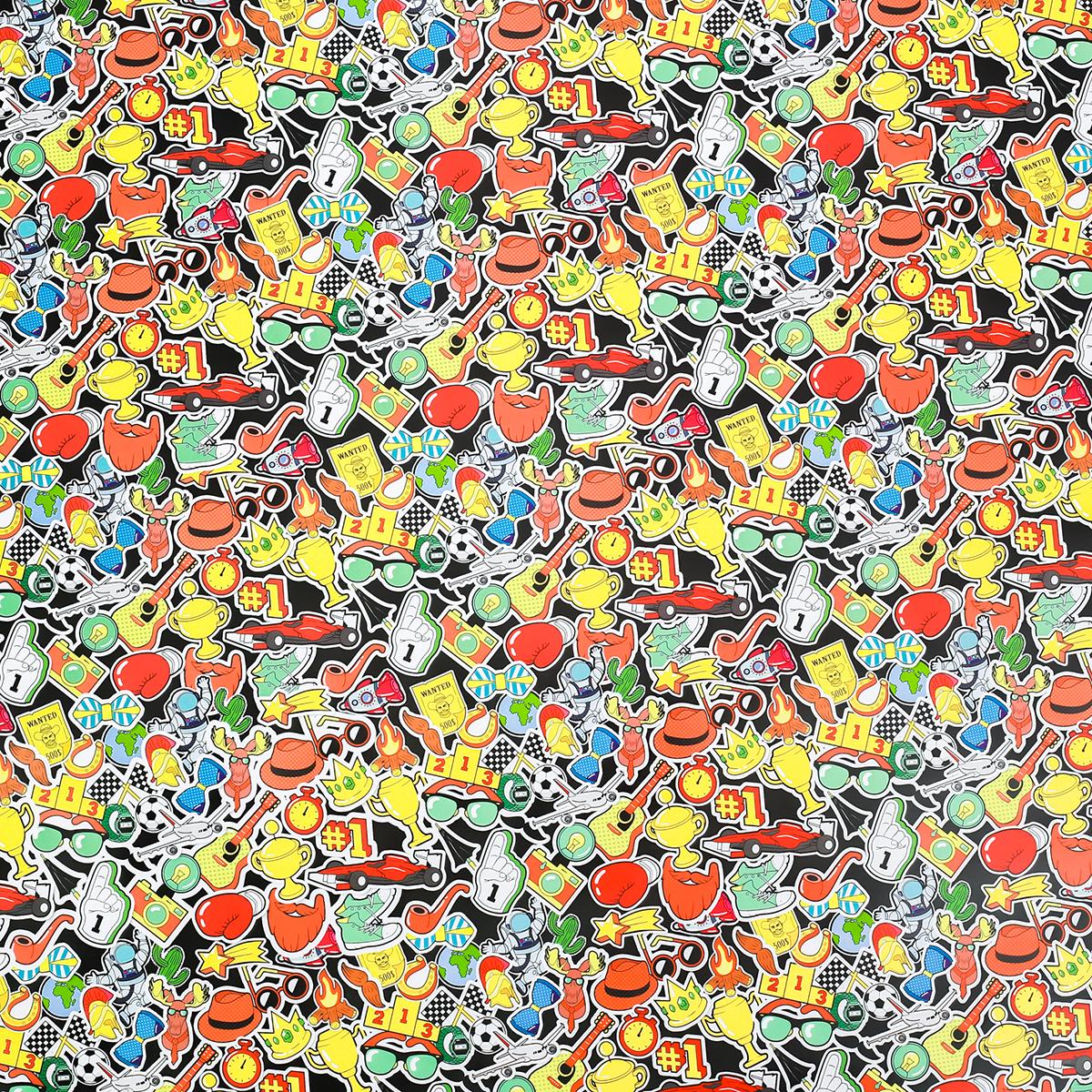 Бумага упаковочная Дарите счастье Яркие наклейки, глянцевая, 70 х 100 см. 2791670 бумага упаковочная дарите счастье цветы глянцевая 70 х 100 см 2887323