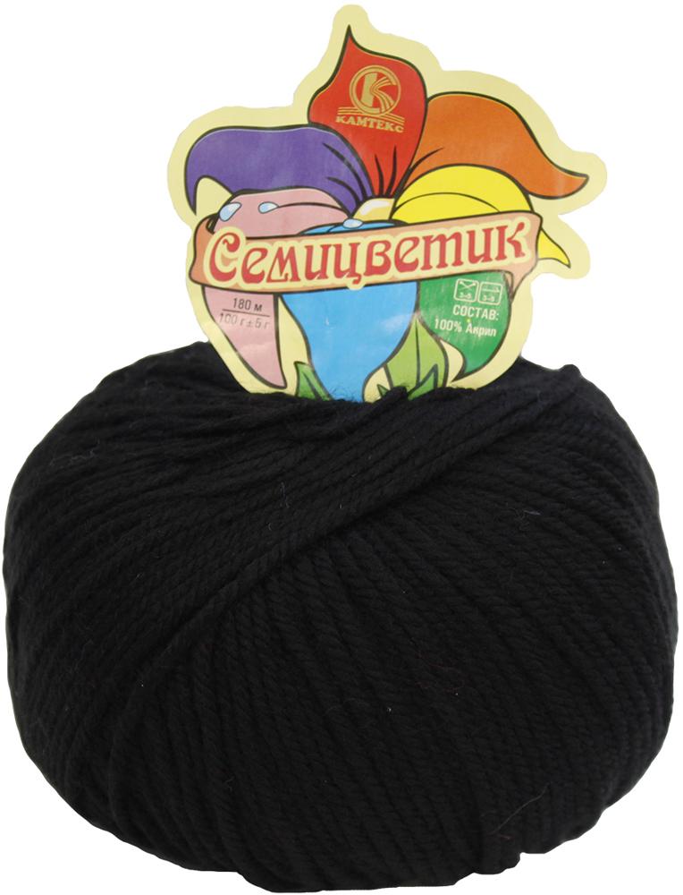 Пряжа для вязания Камтекс Семицветик, цвет: черный (003), 180 м, 100 г, 10 шт пряжа для вязания камтекс семицветик цвет розовый 056 180 м 100 г 10 шт