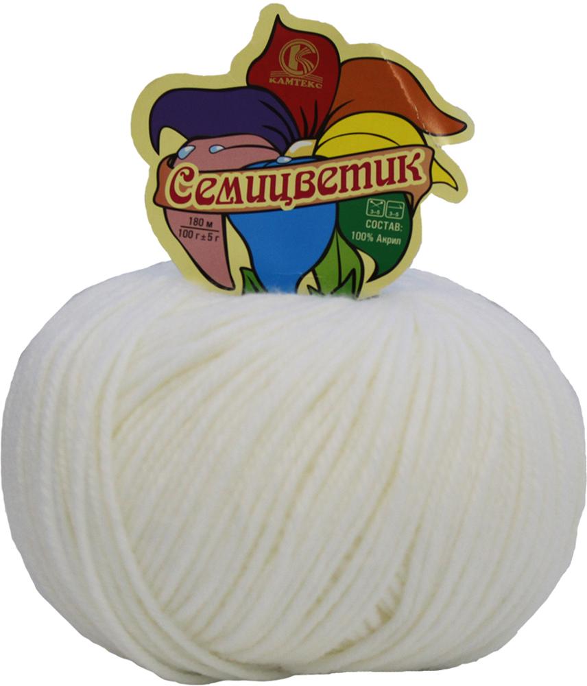 Пряжа для вязания Камтекс Семицветик, цвет: белый (002), 180 м, 100 г, 10 шт, 180 м, 100 г, 10 шт пряжа для вязания камтекс семицветик цвет розовый 056 180 м 100 г 10 шт