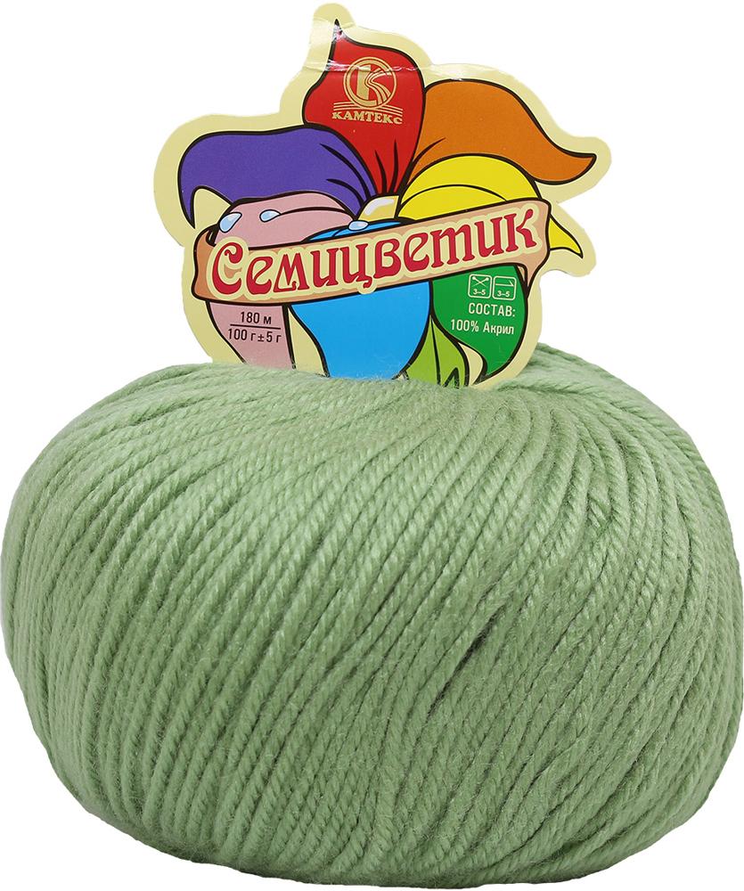 """Пряжа для вязания Камтекс """"Семицветик"""", цвет: зеленое яблоко (045), 180 м, 100 г, 10 шт"""