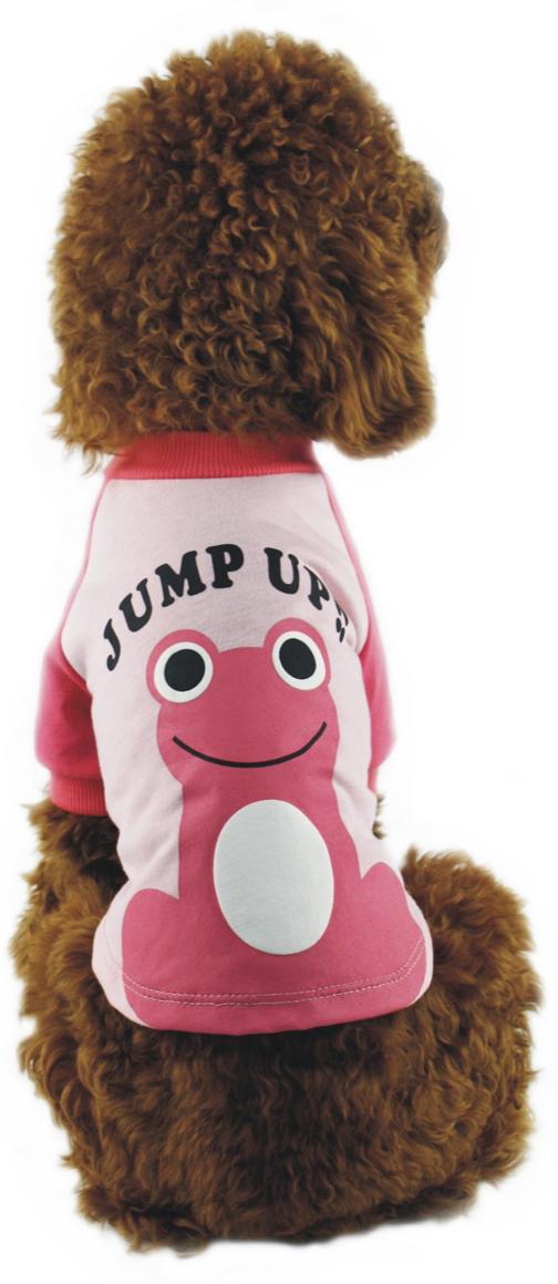 Майка для собак Dobaz Лягушка, унисекс, цвет: розовый, красный. ДА1110АХХЛ. Размер XXL майка для собак dobaz паровозик унисекс цвет темно зеленый оранжевый да025бххл размер xxl