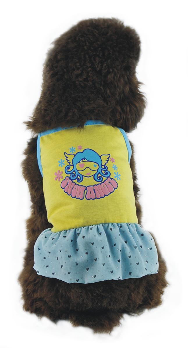 """Платье для собак """"Dobaz"""", цвет: желтый, голубой. ДА1116БЛ. Размер L"""