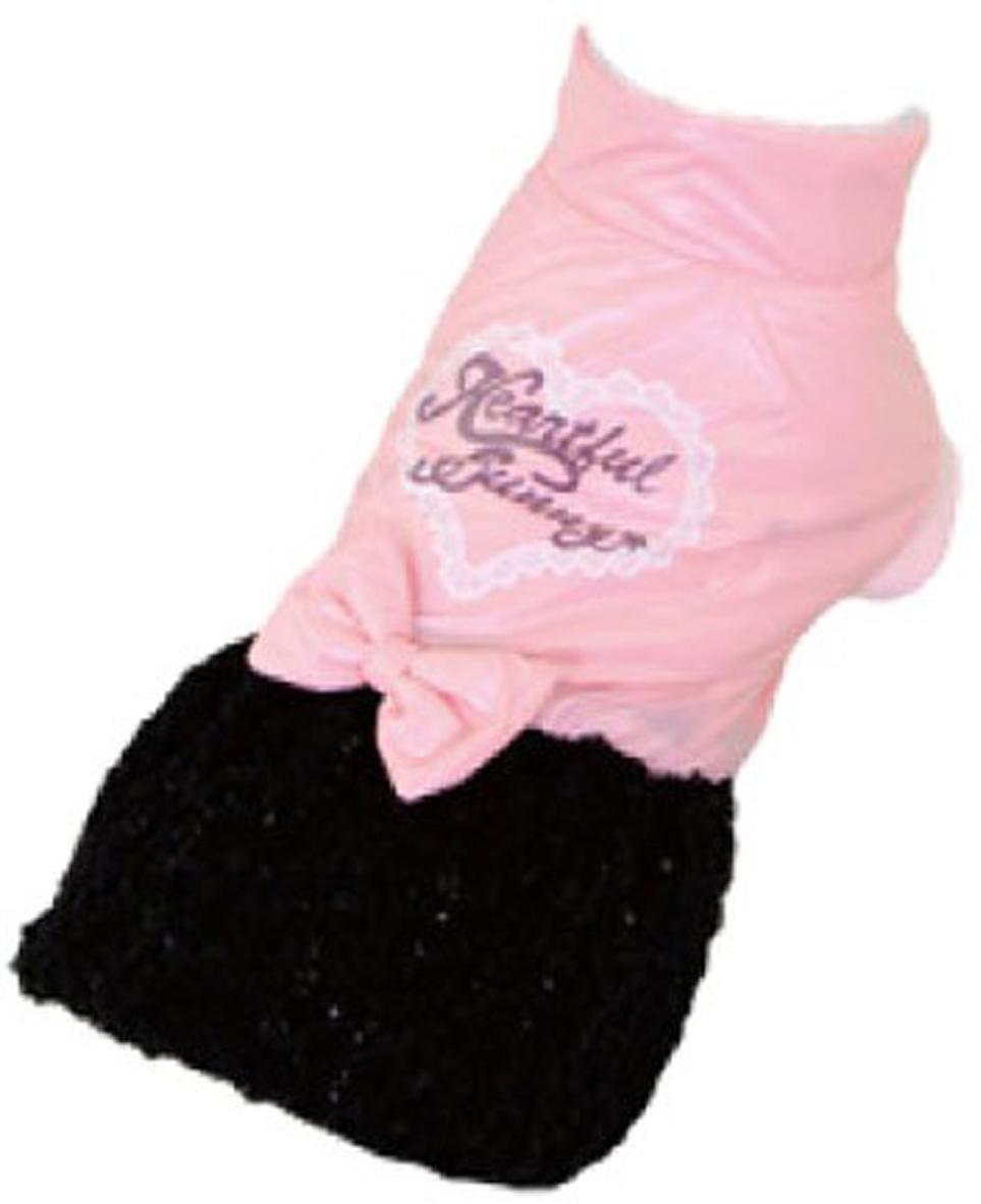 """Платье для собак """"Dobaz"""", утепленное, цвет: розовый, черный. ДА13070СС. Размер S"""