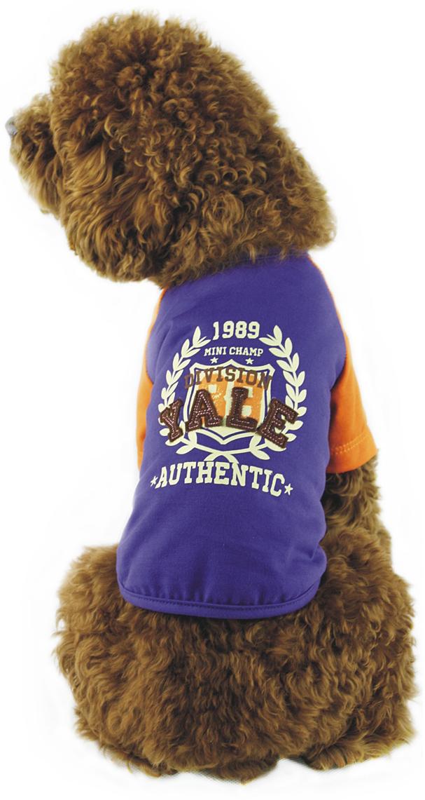 Майка для собак Dobaz, унисекс, цвет: синий, оранжевый. ДГ1101АХХЛ. Размер XXL майка для собак dobaz паровозик унисекс цвет темно зеленый оранжевый да025бххл размер xxl