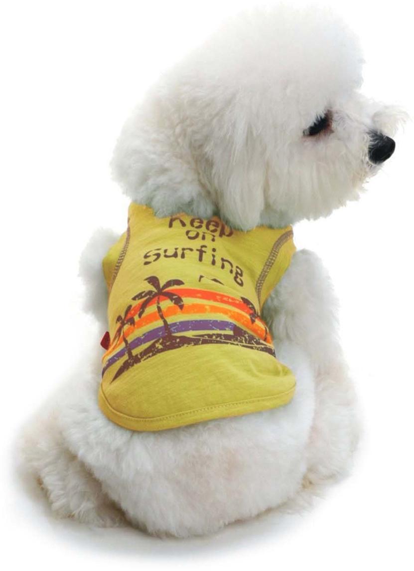 Майка для собак Dobaz Пальмы, унисекс, цвет: желтый. ДЛ001АХХЛ. Размер XXL майка для собак dobaz паровозик унисекс цвет темно зеленый оранжевый да025бххл размер xxl