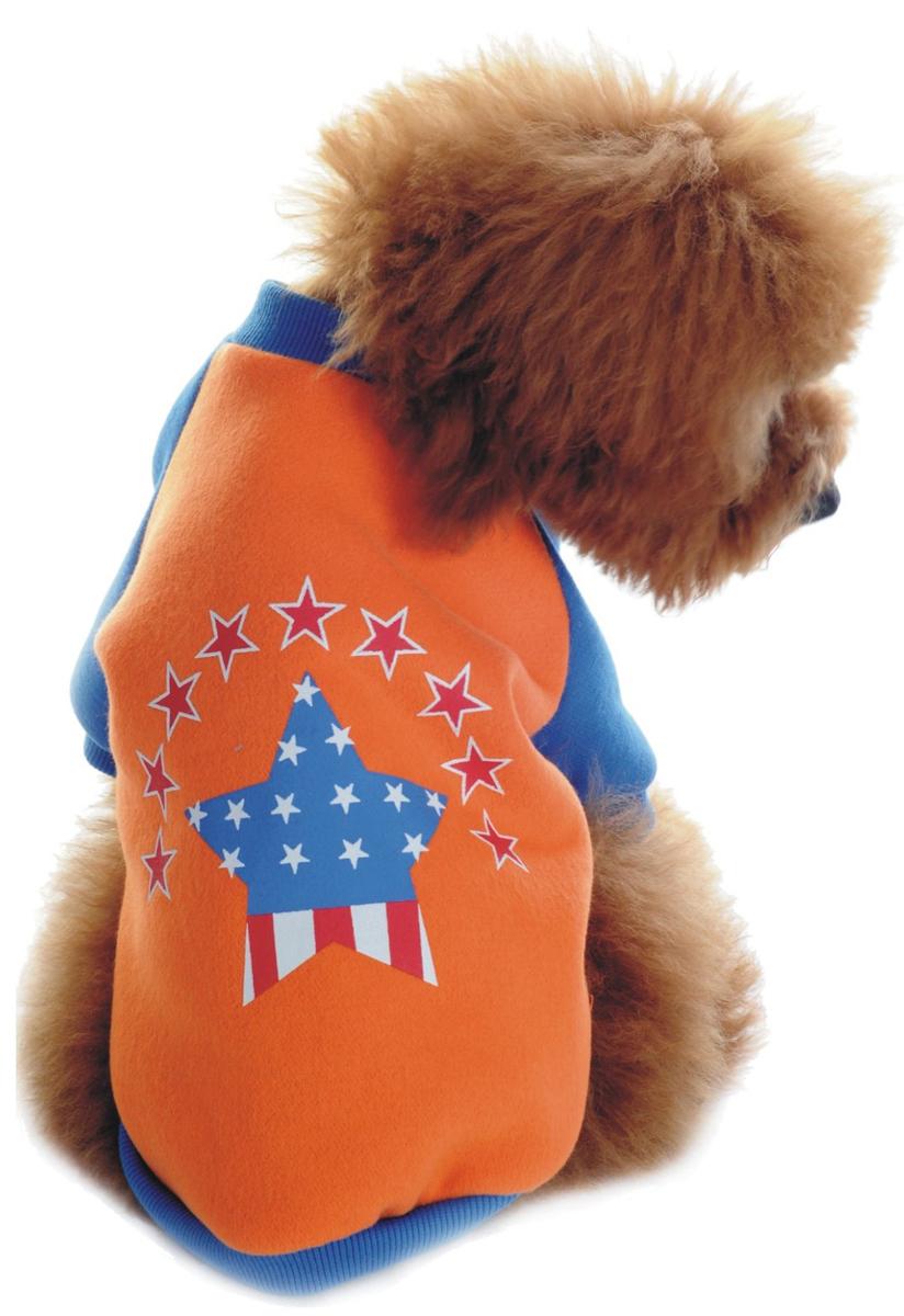 Майка для собак Dobaz, унисекс, цвет: синий, оранжевый. ДЛ1101БХХЛ. Размер XXL майка для собак dobaz паровозик унисекс цвет темно зеленый оранжевый да025бххл размер xxl