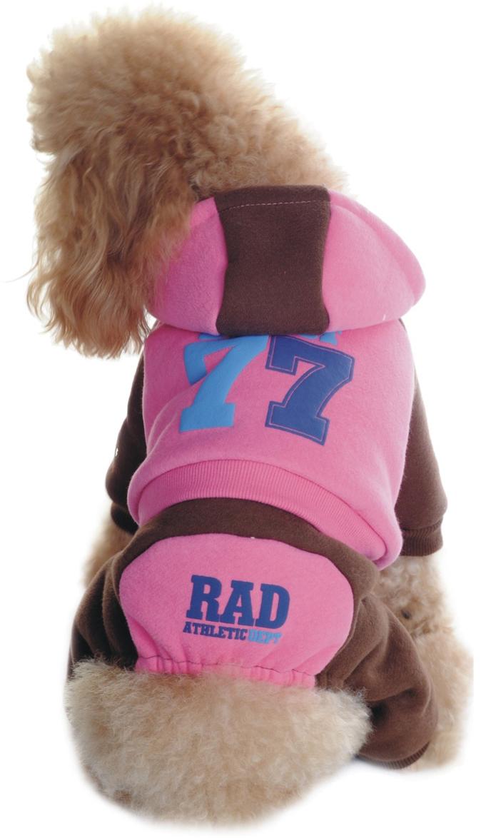 Комбинезон для собак Dobaz 77, утепленный, цвет: розовый, коричневый. ДЛ1107АХЛ. Размер XL комбинезон для собак dobaz утепленный цвет бежевый дл1008бхл размер xl