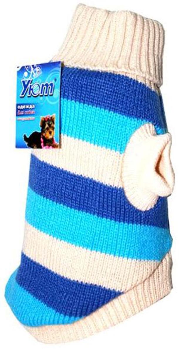 """Свитер для собак """"Уют"""", унисекс, цвет: белый, голубой. НМ1Л. Размер L"""