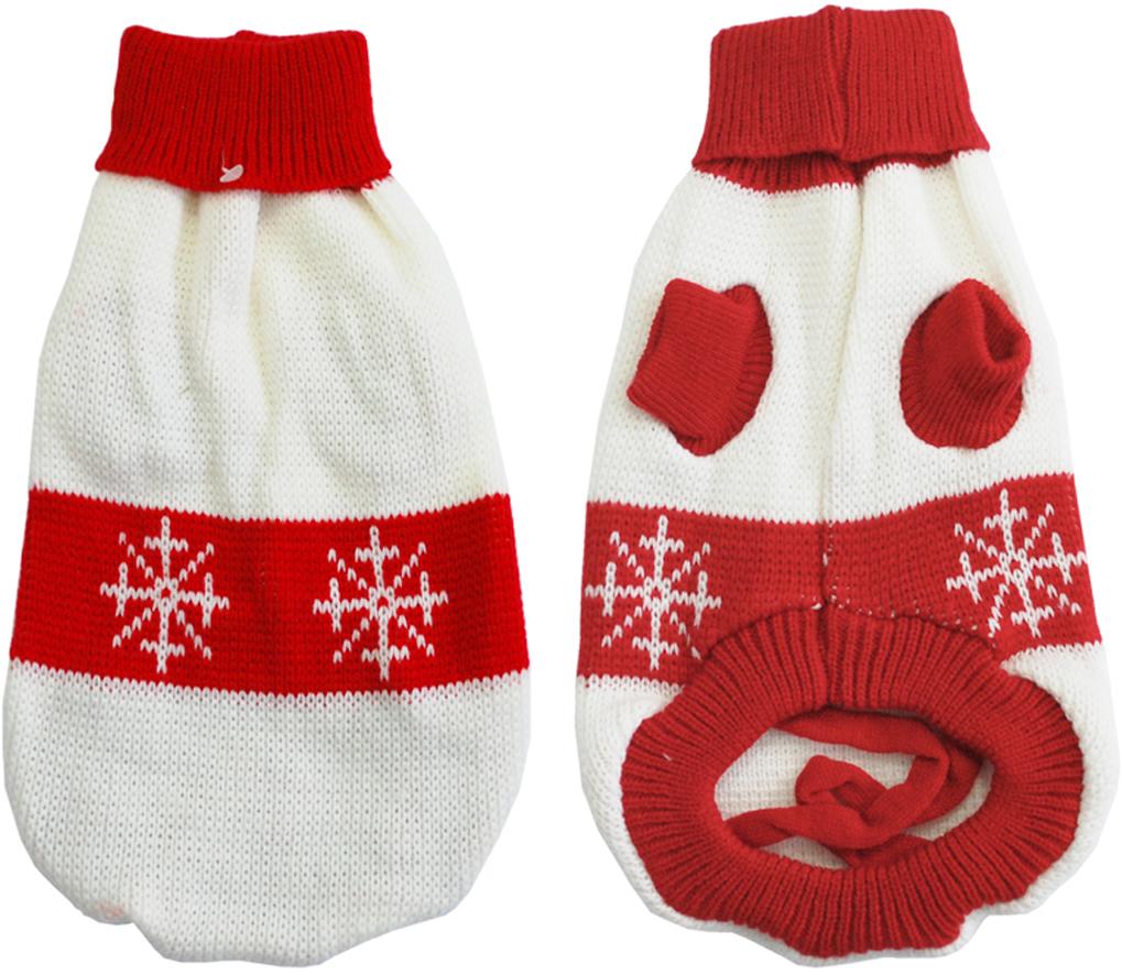 """Свитер для собак Уют """"Снежинка"""", унисекс, цвет: белый, красный. НМ21М. Размер M"""