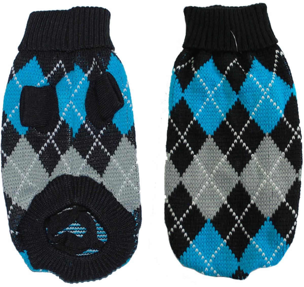 """Свитер для собак """"Уют"""", унисекс, цвет: черный, синий, серый. НМ24ХЛ. Размер XL"""
