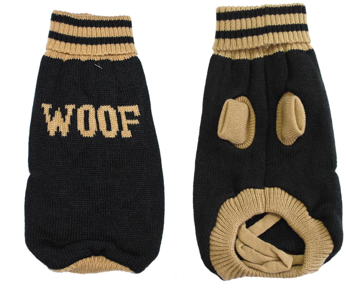 """Свитер для собак Уют """"Woof"""", унисекс, цвет: черный, бежевый. НМ26С. Размер S"""