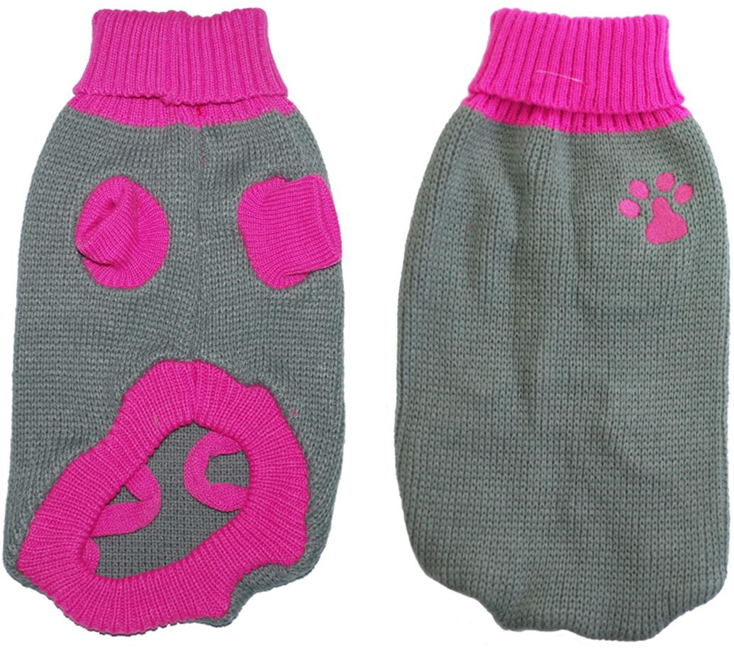"""Свитер для собак Уют """"Лапка"""", унисекс, цвет: серый, розовый. НМ29ХС. Размер XS"""