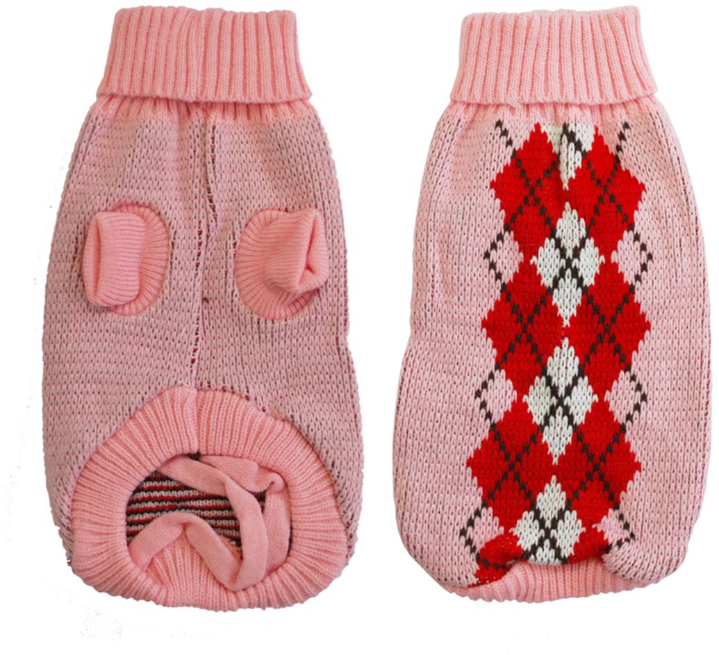 Свитер для собак Уют, для девочки, цвет: розовый, красный. НМ30ХЛ. Размер XLНМ30ХЛКрасивый вязаный свитер для собак Уют выполнен из акрила. Рукава, воротник и низ изделия дополнены эластичными трикотажными резинками для плотного прилегания. Модель оформлена рисунком в виде ромбов. В таком свитере вашей собачке будет тепло и уютно. Обхват шеи: 32-36 см. Обхват груди: 53-61 см. Длина спинки: 40 см. Одежда для собак: нужна ли она и как её выбрать. Статья OZON Гид