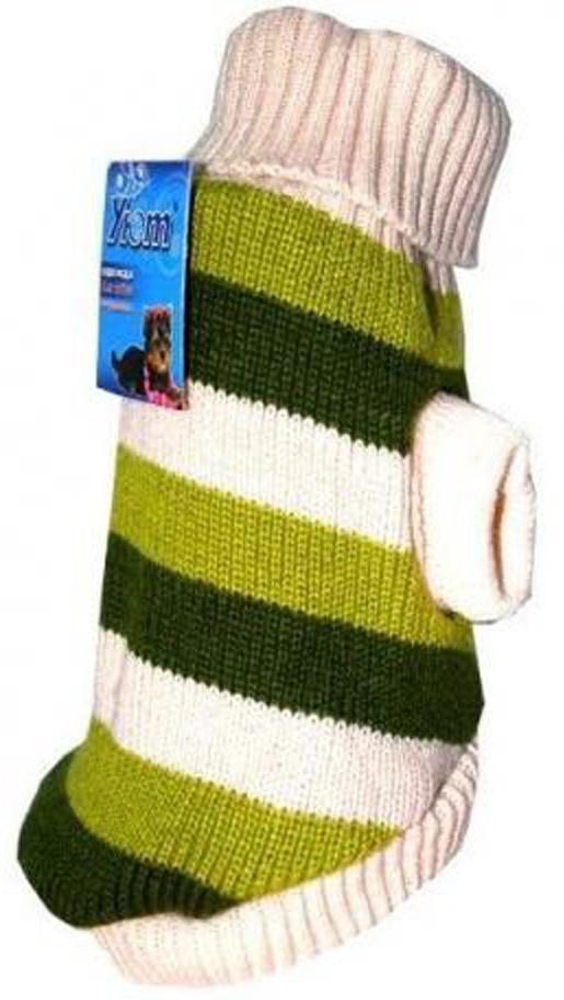 """Свитер для собак """"Уют"""", унисекс, цвет: бежевый, зеленый. НМ3ХС. Размер XS"""